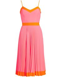 MILLY Pleated GG Midi Dress - Pink