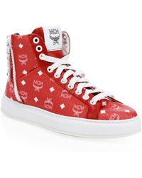 MCM Men's Visetos High-top Logo Trainers - Red