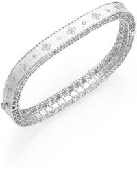 Roberto Coin - Princess Diamond & 18k White Gold Bangle Bracelet - Lyst