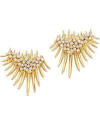 Hueb - 18k Yellow Gold & Diamond Fan Spike Earrings - Lyst
