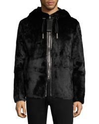 Bally - Hooded Fur Striped Coat - Lyst
