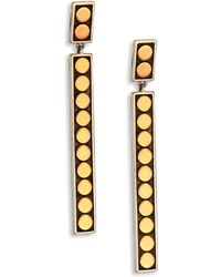 John Hardy - Dot 18k Yellow Gold & Sterling Silver Linear Drop Earrings - Lyst