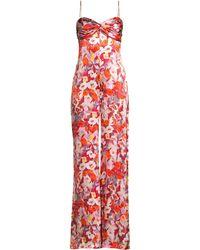 55e65b3365c AMUR - Women s Tish Floral Silk Jumpsuit - Brush Stroke Floral Rust - Size  0 -