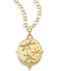 Temple St. Clair Diamond & 18k Yellow Gold Dragonfly Locket - Metallic