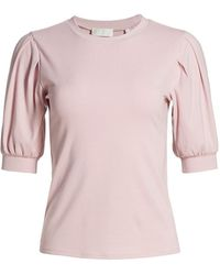 7 For All Mankind Pleated Puff-shoulder Power Rib Tee - Pink