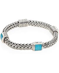 John Hardy - Classic Chain Medium Turquoise & Sterling Silver Four Station Bracelet - Lyst