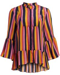 Figue Livia Striped Silk Blouse - Red