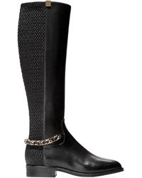 Cole Haan Idina Stretch Leather Riding Boots - Black