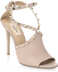 36397eef5ad Lyst - Valentino Metallic Leather Sandals in Metallic