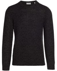 7 For All Mankind Printed Mohair-blend Crew Sweater - Black