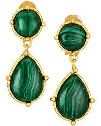 Sylvia Toledano Pierres Dots 22k Goldplated & Malachite Double-drop Clip-on Earrings - Green