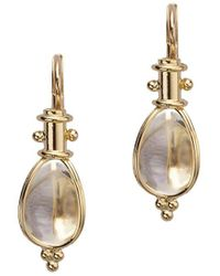 Temple St. Clair Classic Rock Crystal & 18k Yellow Gold Amulet Drop Earrings - Metallic