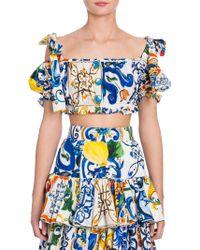 Dolce & Gabbana - Majolica-print Cotton Top - Lyst