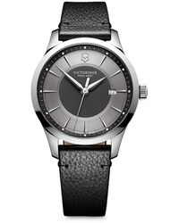 Victorinox Alliance Stainless Steel Scratch-resistant Leather-strap Watch - Gray