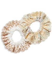 Loeffler Randall Stephanie 2-piece Embroidered Eyelet Scrunchie Set - Multicolor