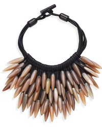 Nest - Fringed Leather & Horn Necklace - Lyst