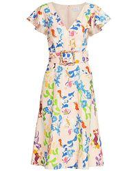 Tanya Taylor Jan Multi-print Belted Midi Dress - Multicolor