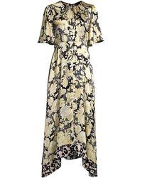 Rebecca Taylor Gold Leaf Floral Silk Midi Dress - Black
