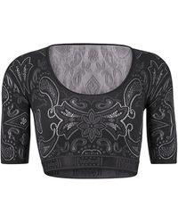 Wolford Om Paisley Lace Crop Top - Black