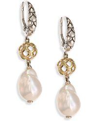 John Hardy - Legends Naga 11mm White Baroque Pearl, Sterling Silver & 18k Yellow Gold Drop Earrings - Lyst