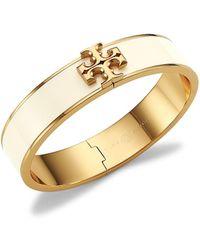 Tory Burch Kira Logo Goldtone & Enamel Hinged Cuff Bracelet - Metallic