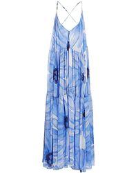 Jacquemus Mistral Plunging Floral Maxi Dress - Blue