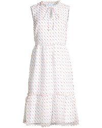 Draper James Swiss Dot Sleeveless Ruffled Dress - White