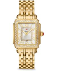 Michele Watches - Women's Deco Ii 16 Diamond, Mother-of-pearl & 18k Goldplated Stainless Steel Bracelet Watch - Gold - Lyst