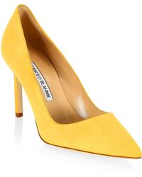 Manolo Blahnik - Bb 90 Suede Point Toe Court Shoes - Lyst