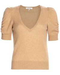FRAME Frankie Recycled Cashmere & Wool Puff-sleeve Sweater - Natural