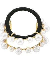 Lelet Linear 14k Goldplated Stainless Steel, Brass & Imitation Pearl Elastic Cuff - Black