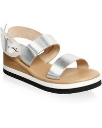 Ancient Greek Sandals - Clio Metallic Leather Wedge Sandals - Lyst