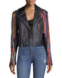 Alice + Olivia - Cody Leather Moto Jacket - Lyst