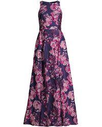 Aidan Mattox Sleeveless Floral Brocade Gown - Purple