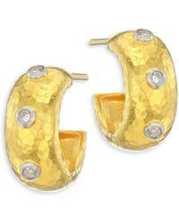 Gurhan - 24k Gold & Diamond Hoop Earrings - Lyst