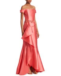 David Meister - Off-the-shoulder Ruffle Gown - Lyst