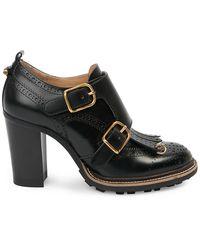Chloé Franne Monk-strap Leather Loafer Pumps - Black