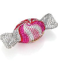 Judith Leiber Swarovski Crystal Swirl Candy Pill Box - Pink