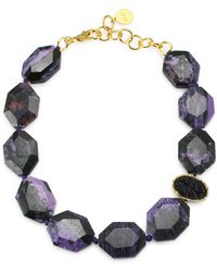 Nest - Charoite & 24k Goldplated Statement Necklace - Lyst
