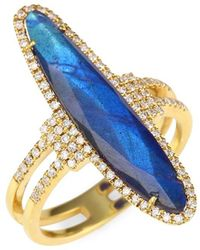 Meira T Diamonds, Blue Labradorite & 14k Yellow Gold Ring - Metallic