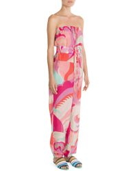 Emilio Pucci - Silk-blend Print Strapless Jumpsuit - Lyst