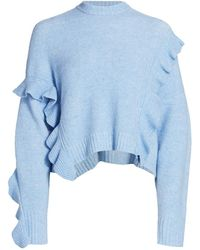 3.1 Phillip Lim Loft Crop Ruffle Wool & Alpaca-blend Sweater - Blue