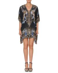 Camilla Short Lace-up Kaftan - Black