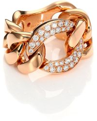 Roberto Coin - Gourmette Diamond & 18k Rose Gold Chain Ring - Lyst