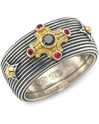 Konstantino Delos 18k Yellow Gold Black Diamond & Ruby Ring - Metallic