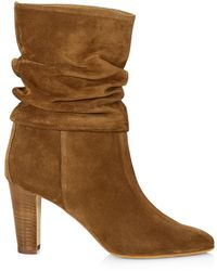 Manolo Blahnik Ruched Mid-calf Suede Boots - Brown