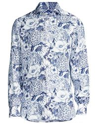 Kiton Large Floral-print Sport Shirt - Blue