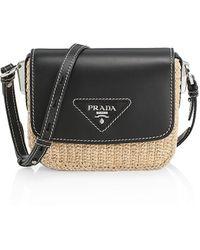 Prada Raffia & Leather Crossbody Bag - Black