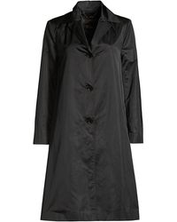 Donna Karan Trapeze Sateen Trench - Black