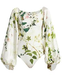 Adriana Iglesias Nube Wildflower Stretch-silk Puff-sleeve Bodysuit - Green